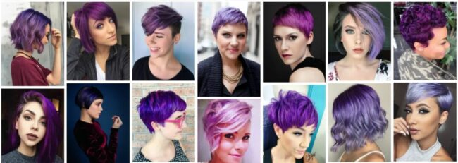 Short Purple Hairstyles for Thick Hair **2021 Stunning Purple Highlights Short Hairstyles Short Hairstyle