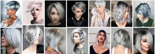Short Silver Hairstyles for Over 50 **2021 Stunning Silver Ombre Short Hairstyle Short Hairstyle