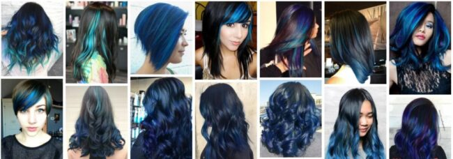 Blue Highlights On Black Hair Without Bleaching *2021 Trend Light Blue Highlights Long Hairstyle